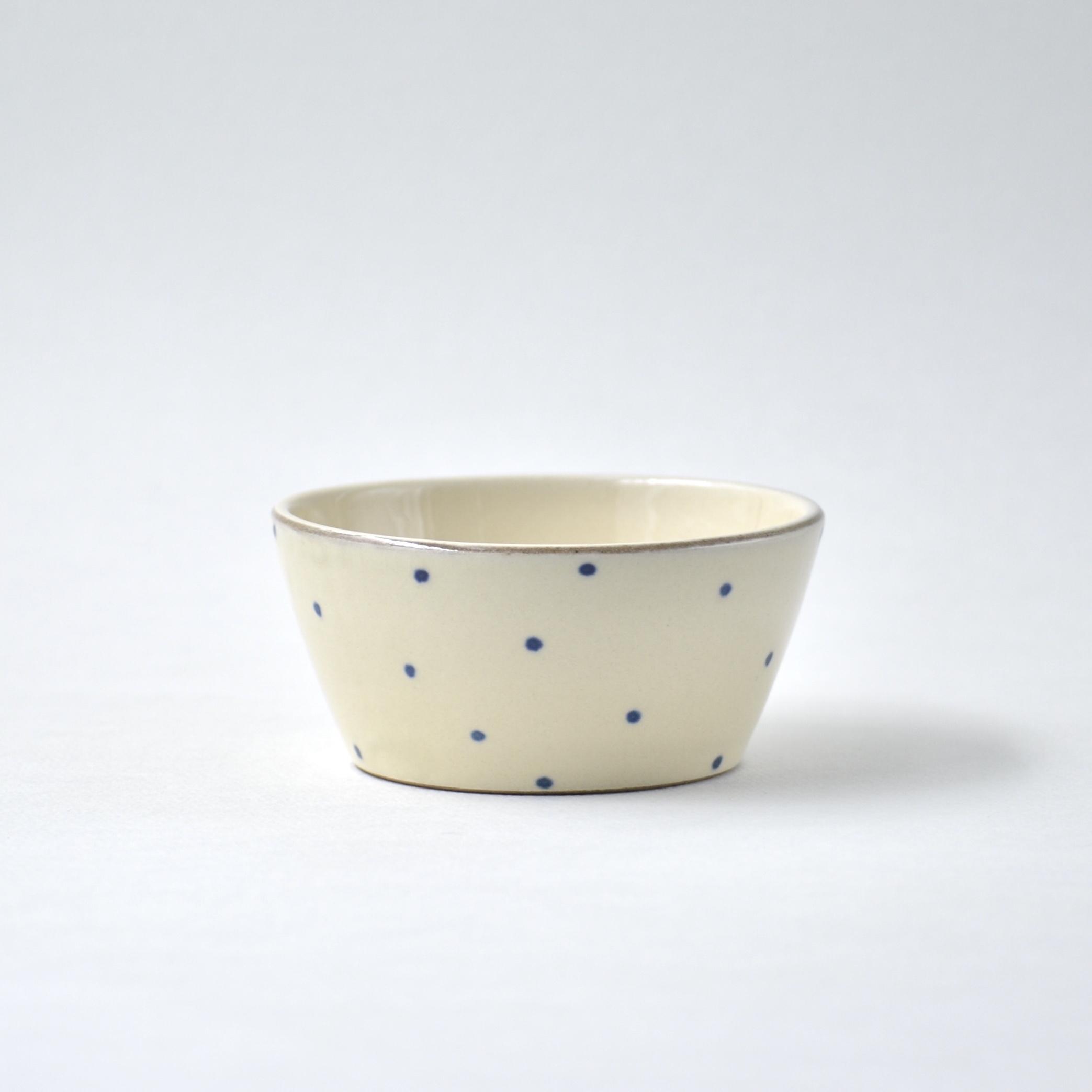 青い水玉の小鉢 大