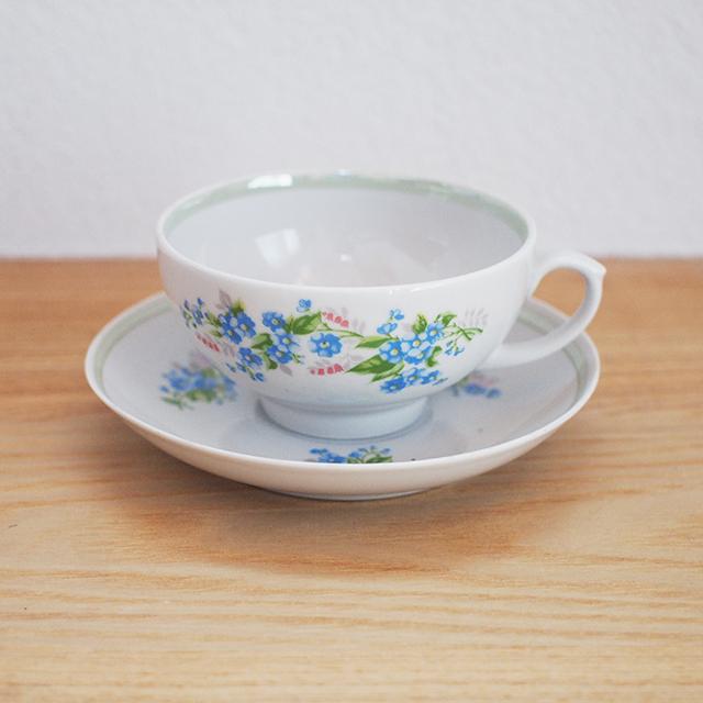 【ロシア】 カップ&ソーサー(青い花) 旧ソ連