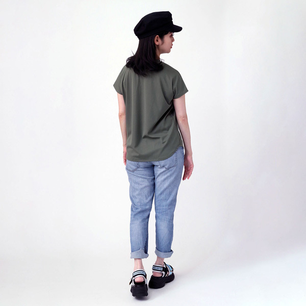 【FLOWER by RADIO EVA 022】Back Stage Pass French Sleeve T-Shirt  OLIVE /  EVANGELION エヴァンゲリオン