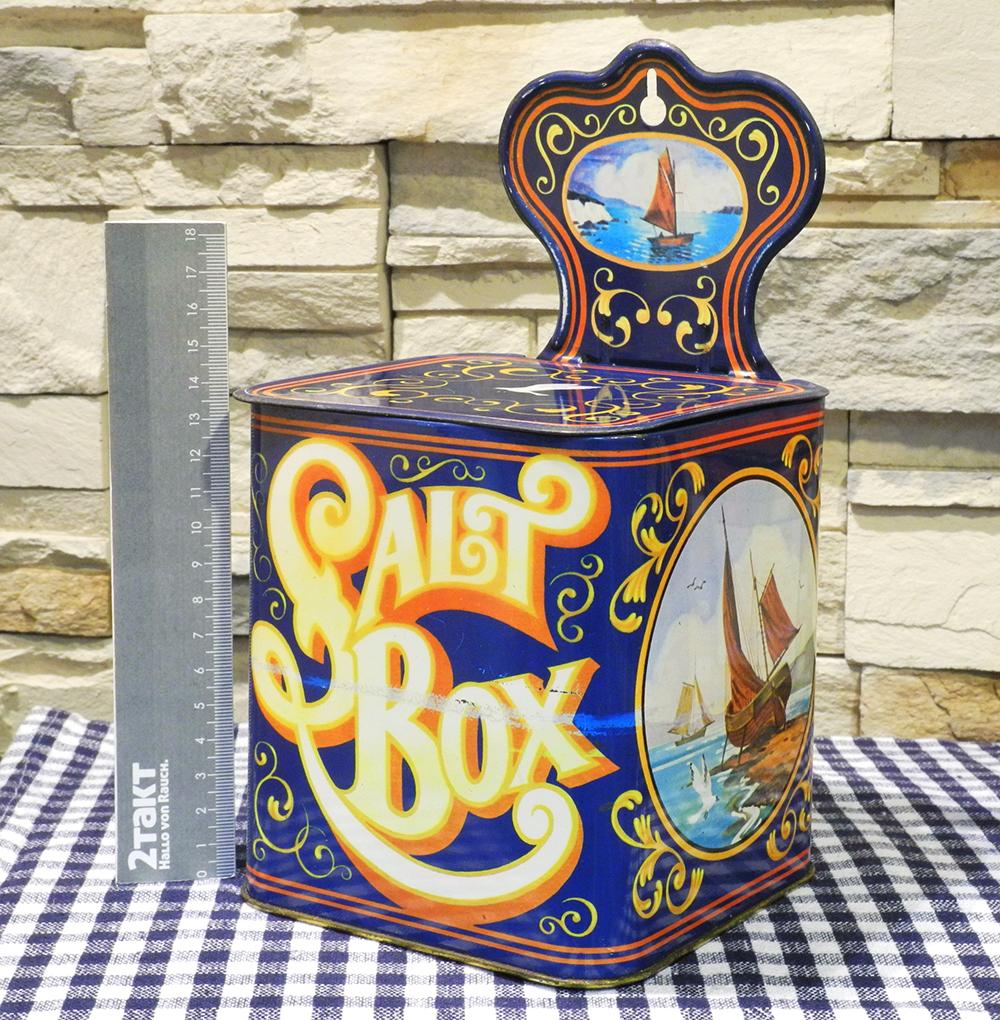 【Vintage/Used品】Vintage tin SALT BOX  ヴィンテージ缶/155