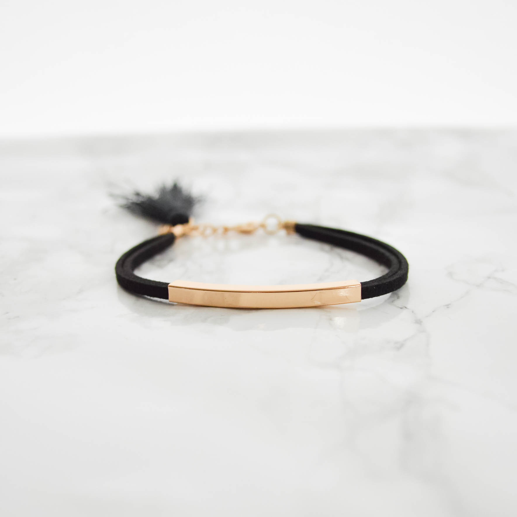 Suede Metal Bracelet(2way)black
