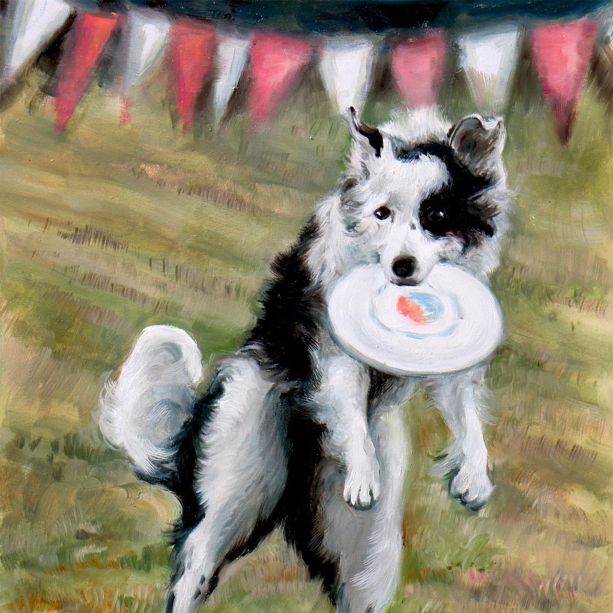 絵画 インテリア アートパネル 雑貨 壁掛け 置物 おしゃれ 油絵 水彩画 鉛筆画 犬 動物 ロココロ 画家 : Uliana ( ウリャーナ ) 作品 : u-20