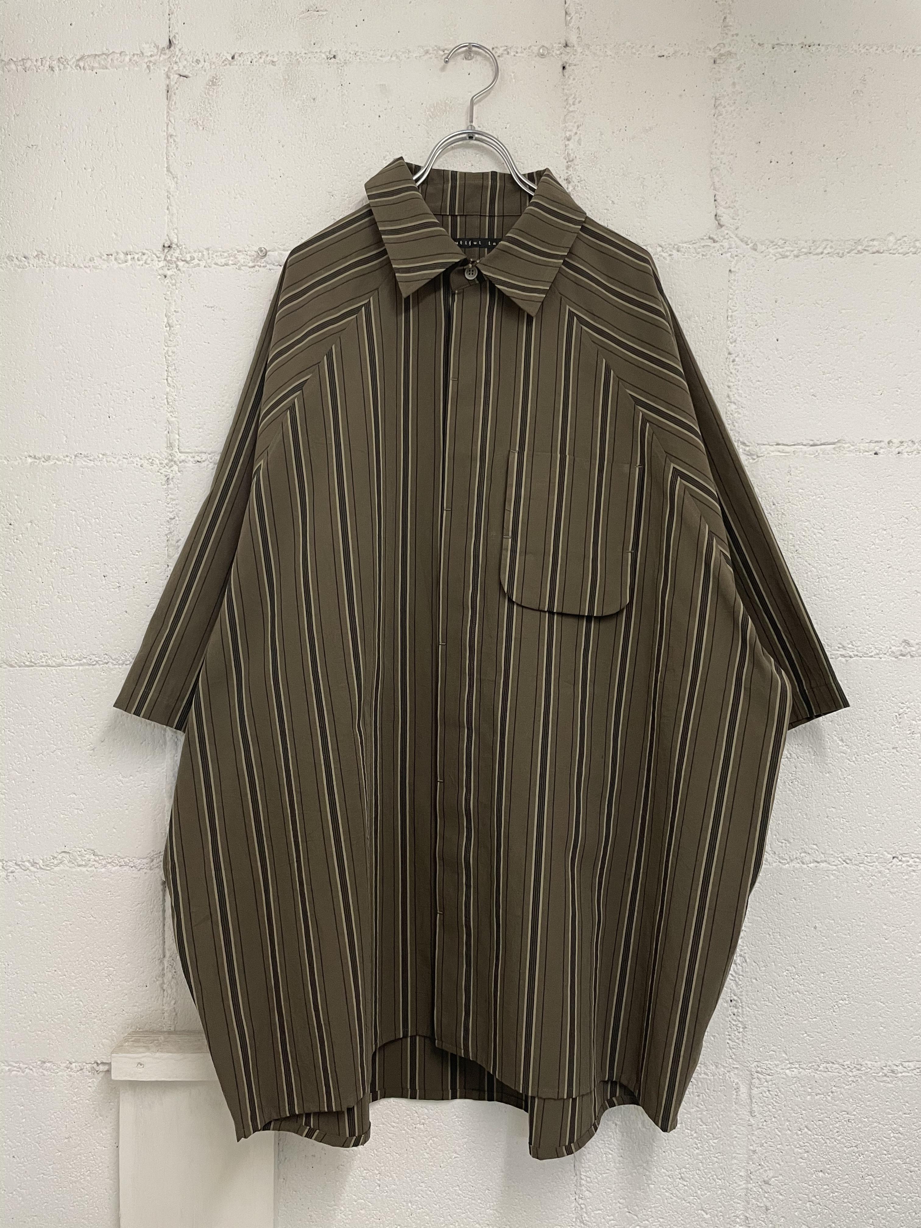 『my beautiful landlet』washer stripe raglan s/s shirt /brown