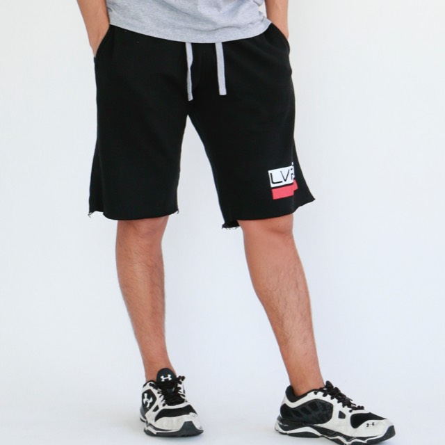 LIVE FIT Sweat Shorts - Black/Red SF100
