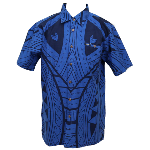 Aloha Shirt 2019 Tribal Blue【Size:L】