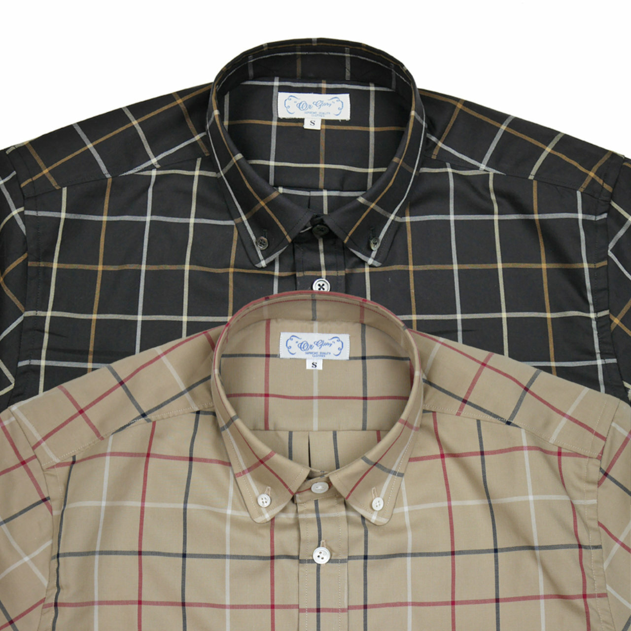 Round B.D windowpane Shirts 【OR GLORY】