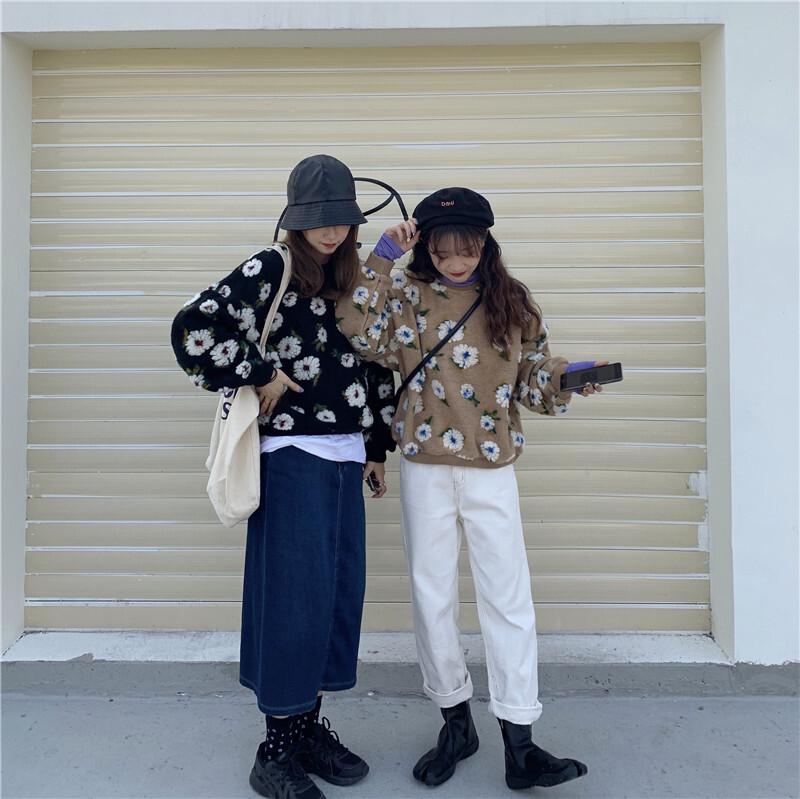 〈カフェシリーズ〉フラワーデザインニットセーター【flower design knit sweater】