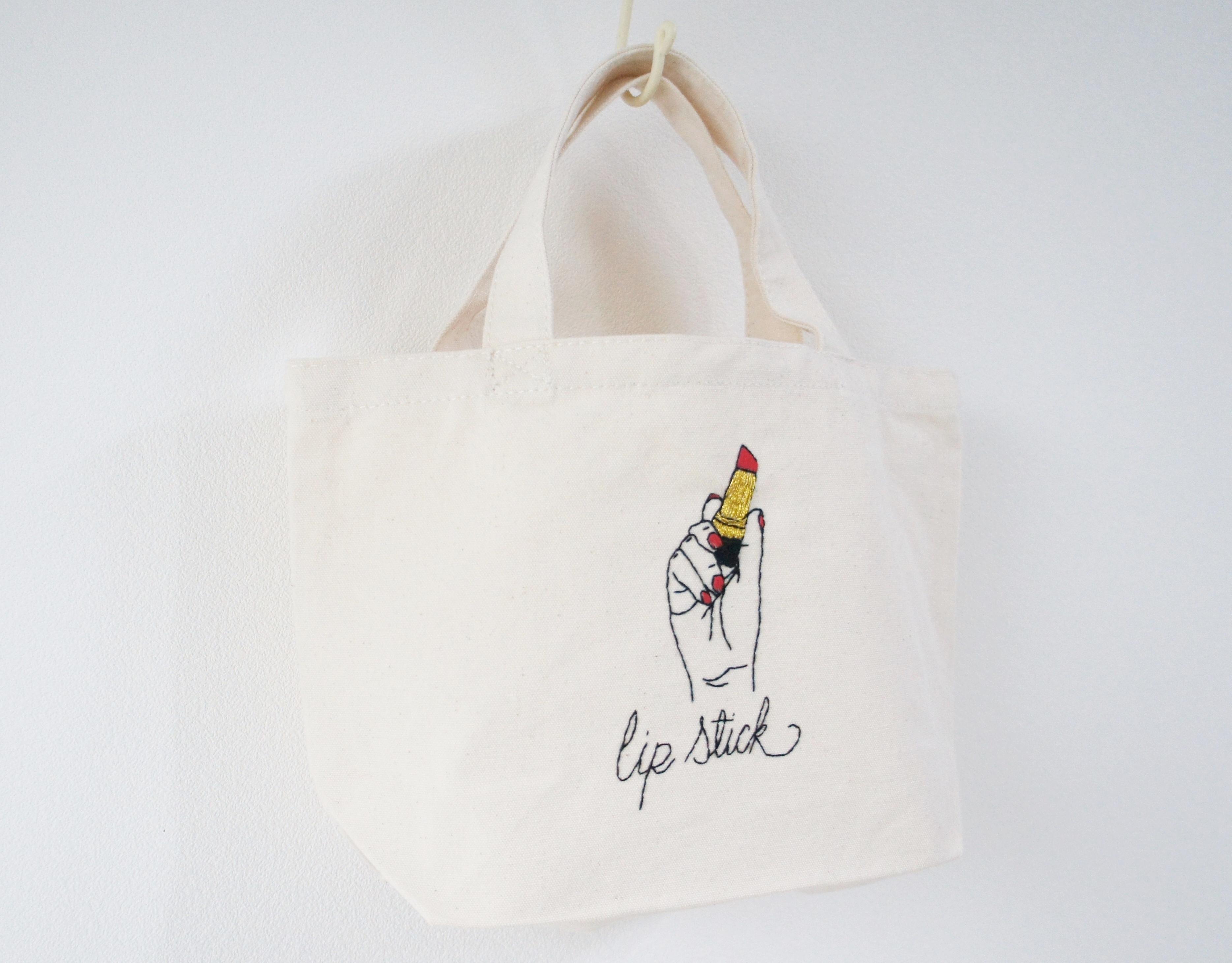 口紅の刺繍帆布バッグ