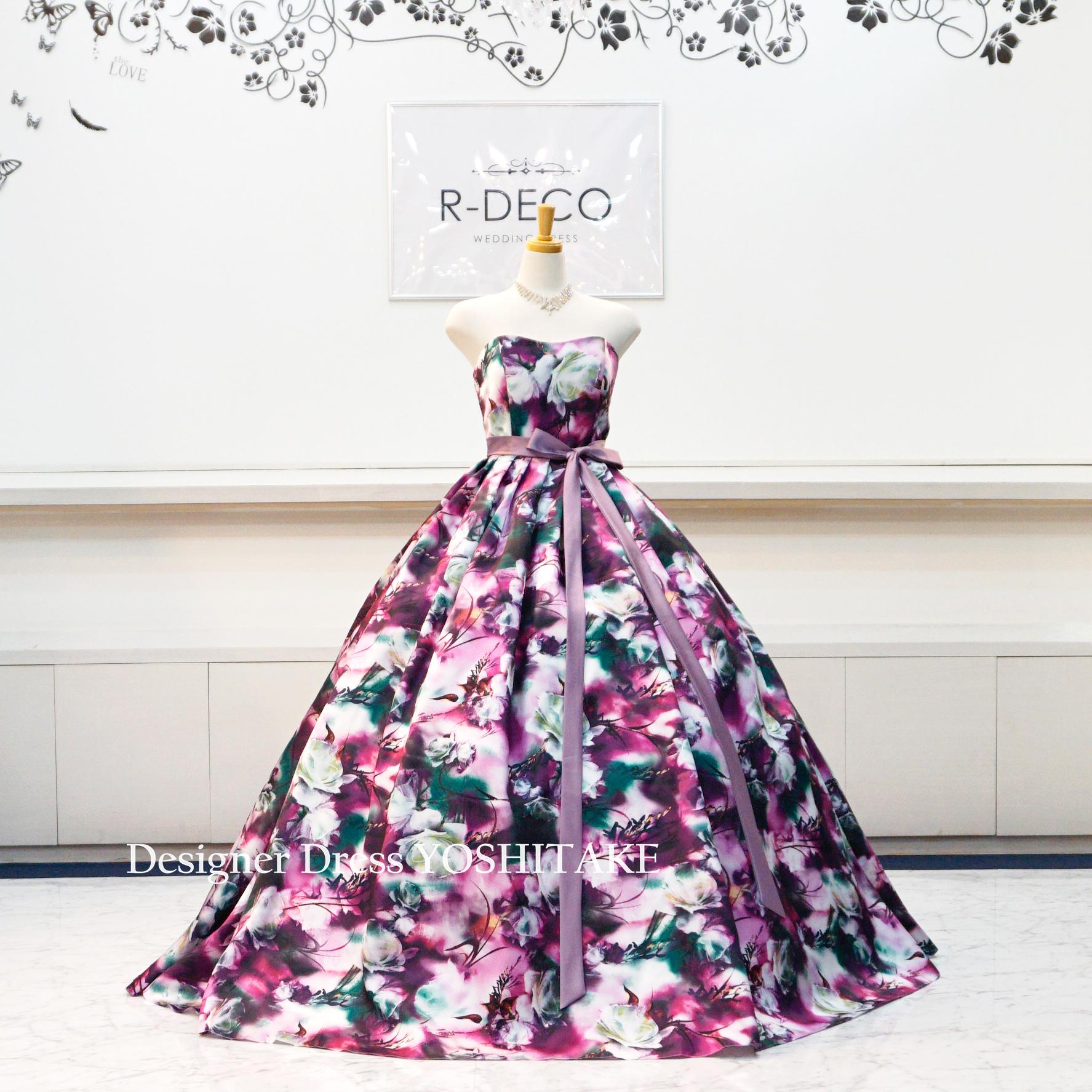 【オーダー制作】ウエディングドレス パープル花柄ドレスVer2 披露宴/お色直し ※制作期間3週間から6週間