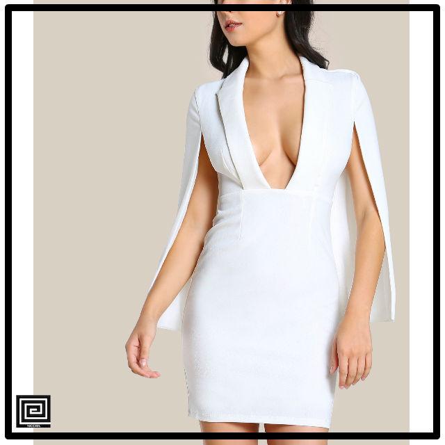 ショールカラープリングケープドレス
