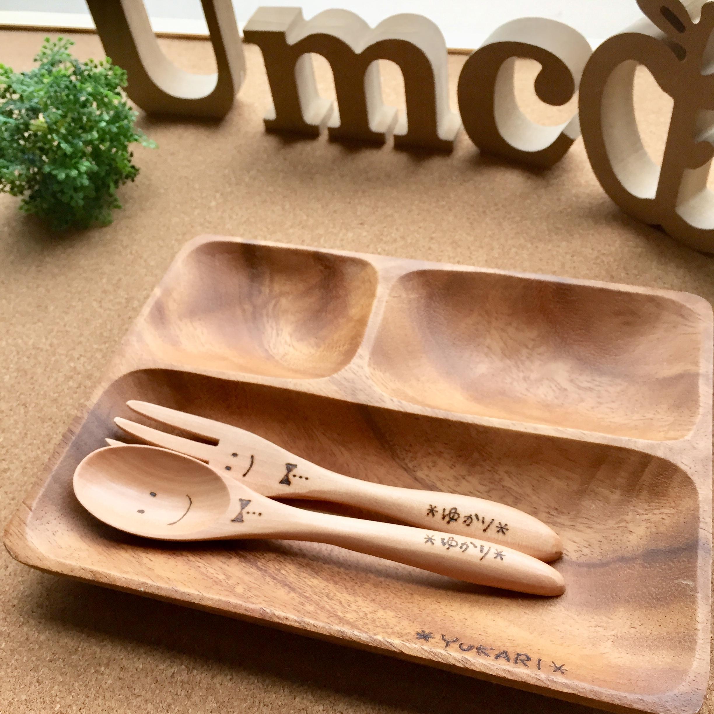 木製トレーセット《木製小さいフォーク&スプーン》