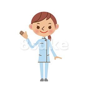 イラスト素材:片手を上げて案内をする介護士(ベクター・JPG)