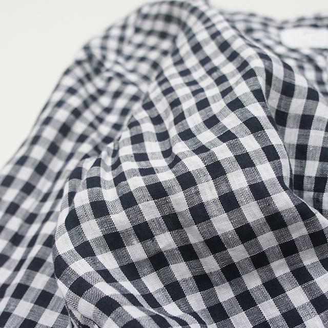 prit プリット フレンチリネンギンガムチェックバンドカラーワイドシャツ レディース シャツ ブラウス リネン ギンガム チェック 長袖 通販 (品番81958)
