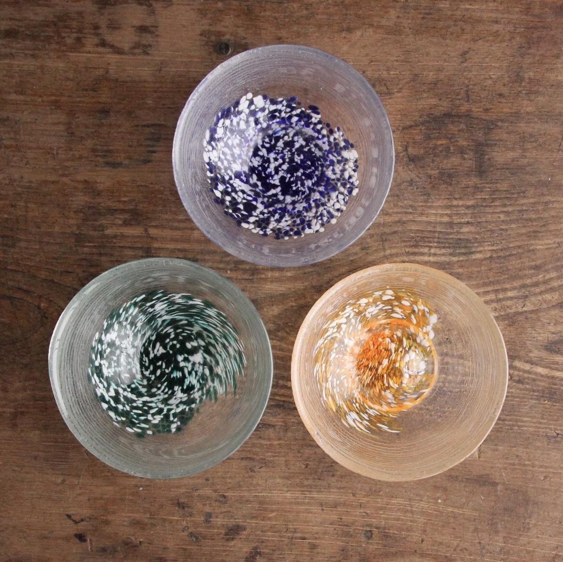 3色吹雪ガラス小鉢 3枚セット