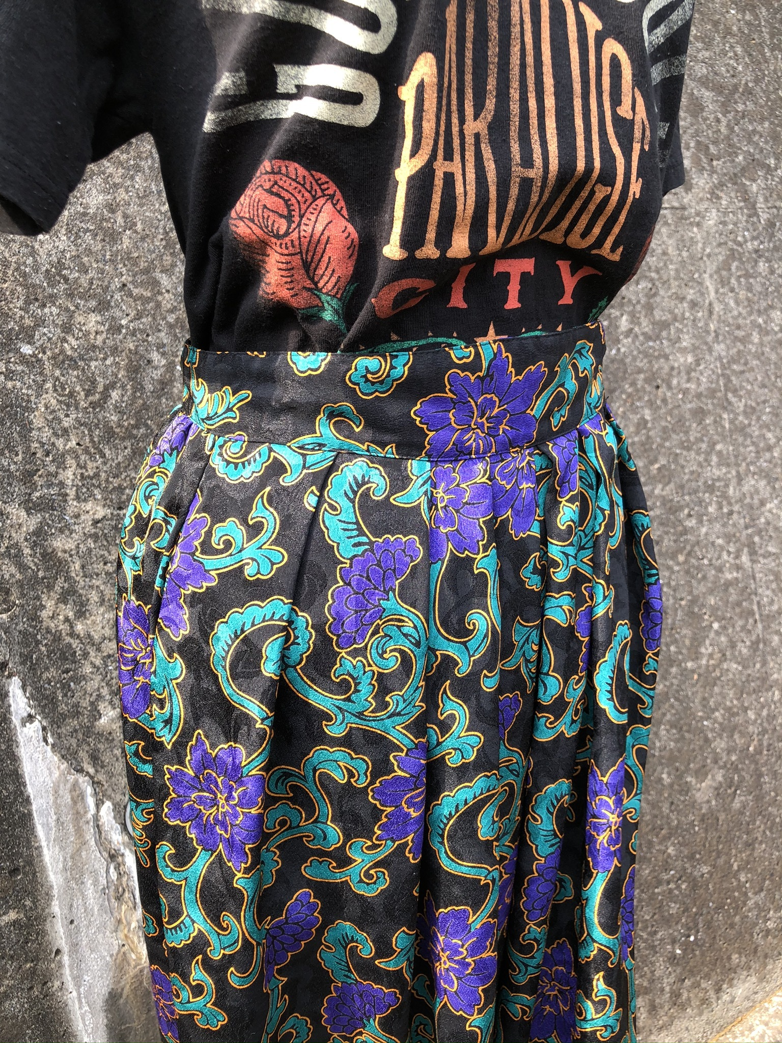 polyestel flower printed skirt