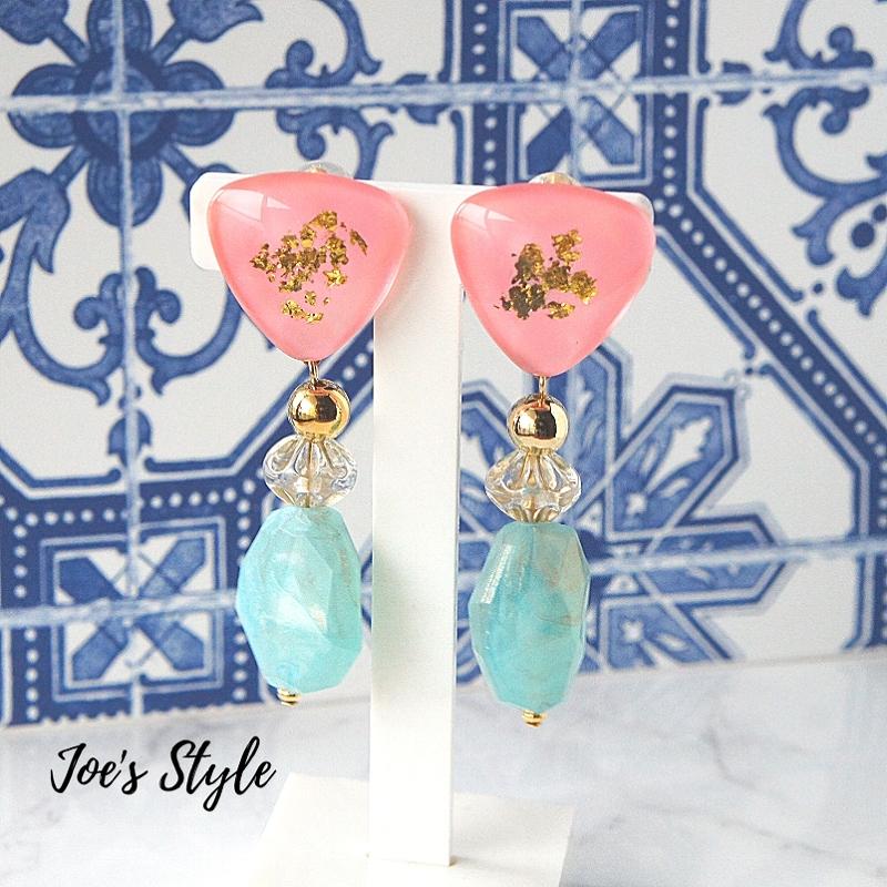 """ Earrings NO.238-864″ ピンク箔"