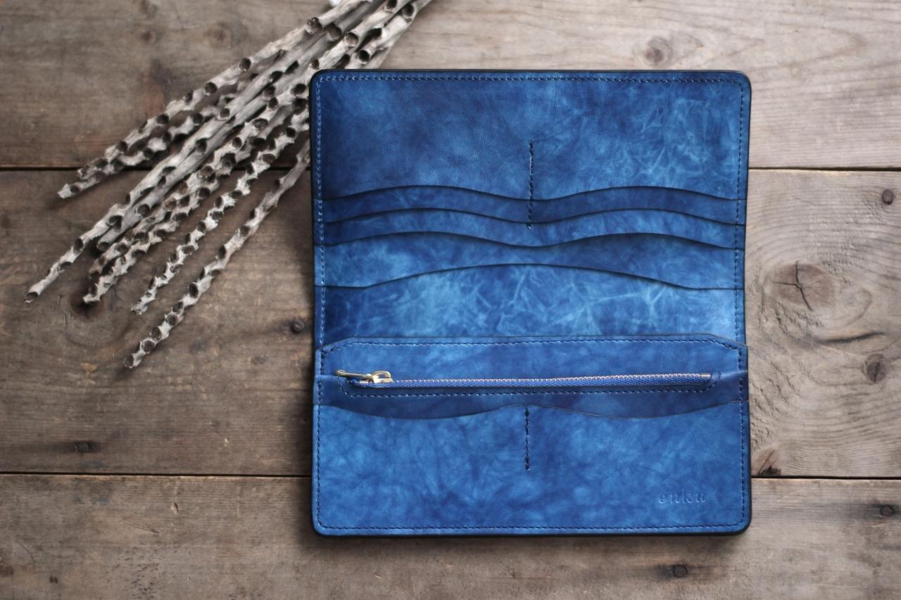 藍染革[migaki] 長財布 【海光】