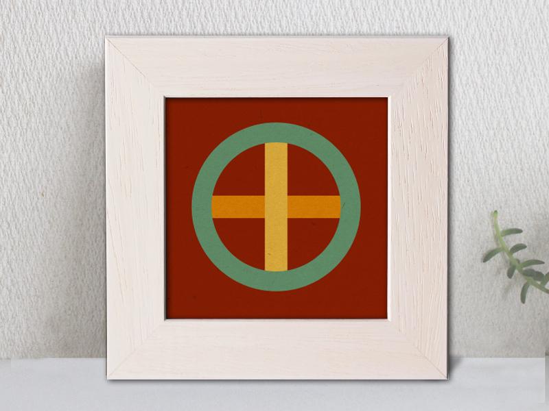 「丸に十字」家紋アートフレーム カラフル 家紋額縁 リビングルームに合う家紋 敬老の日、初節句 結婚、出産、新築祝いに