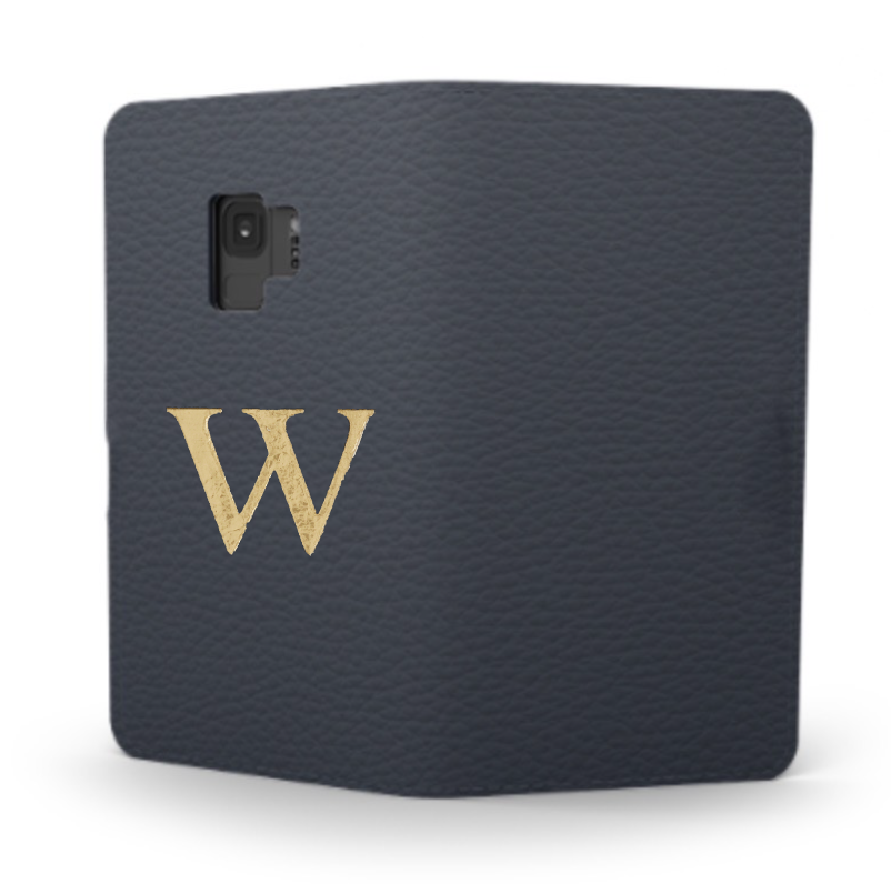 Galaxy Premium Shrink Leather Case (Navy)  : Book cover Type