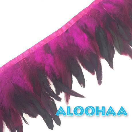 フェザーロール 【ピンク】 14~19cm丈 1m DIY 羽 タヒチアン 衣装材料 タヒチアン ポリネシアンフェザー