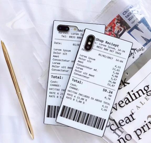【お取り寄せ商品、送料無料】大人気 お洒落 英字 レシート スクエア iPhoneケース