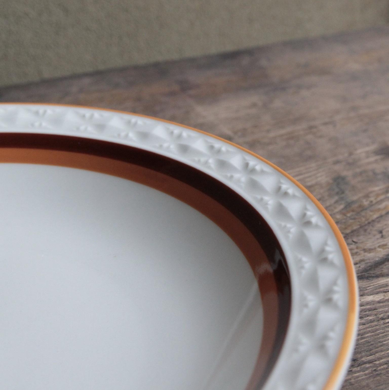 茶とオレンジのサークルラインのカレー皿 残1枚