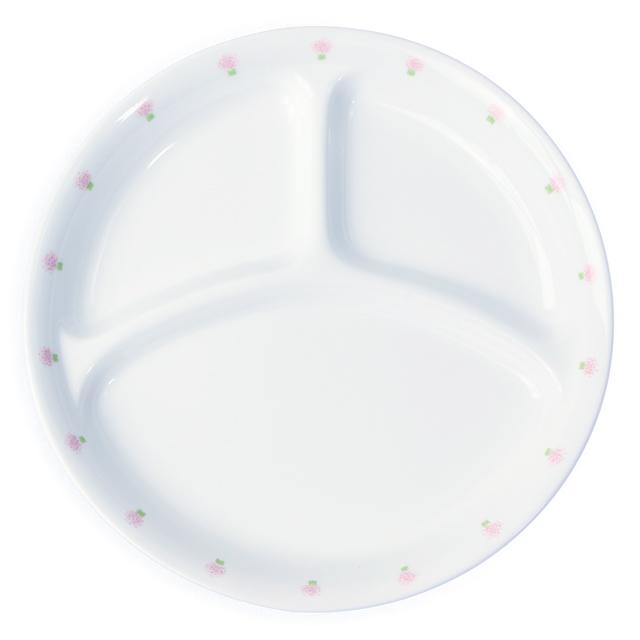【1726-1060】強化磁器 22cm 仕切皿 花の冠(ピンク)