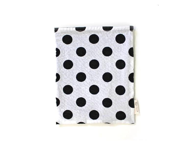 ハリネズミ用寝袋 M(夏用) 綿リップル×スムースニット 水玉 モノトーン