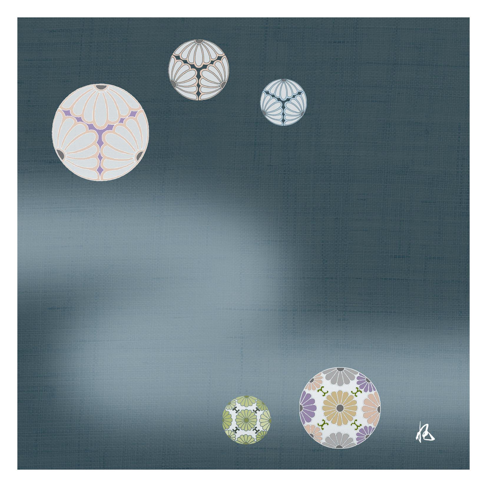 ガラス皿「そめゆら」K-15 菊紋 ブルー