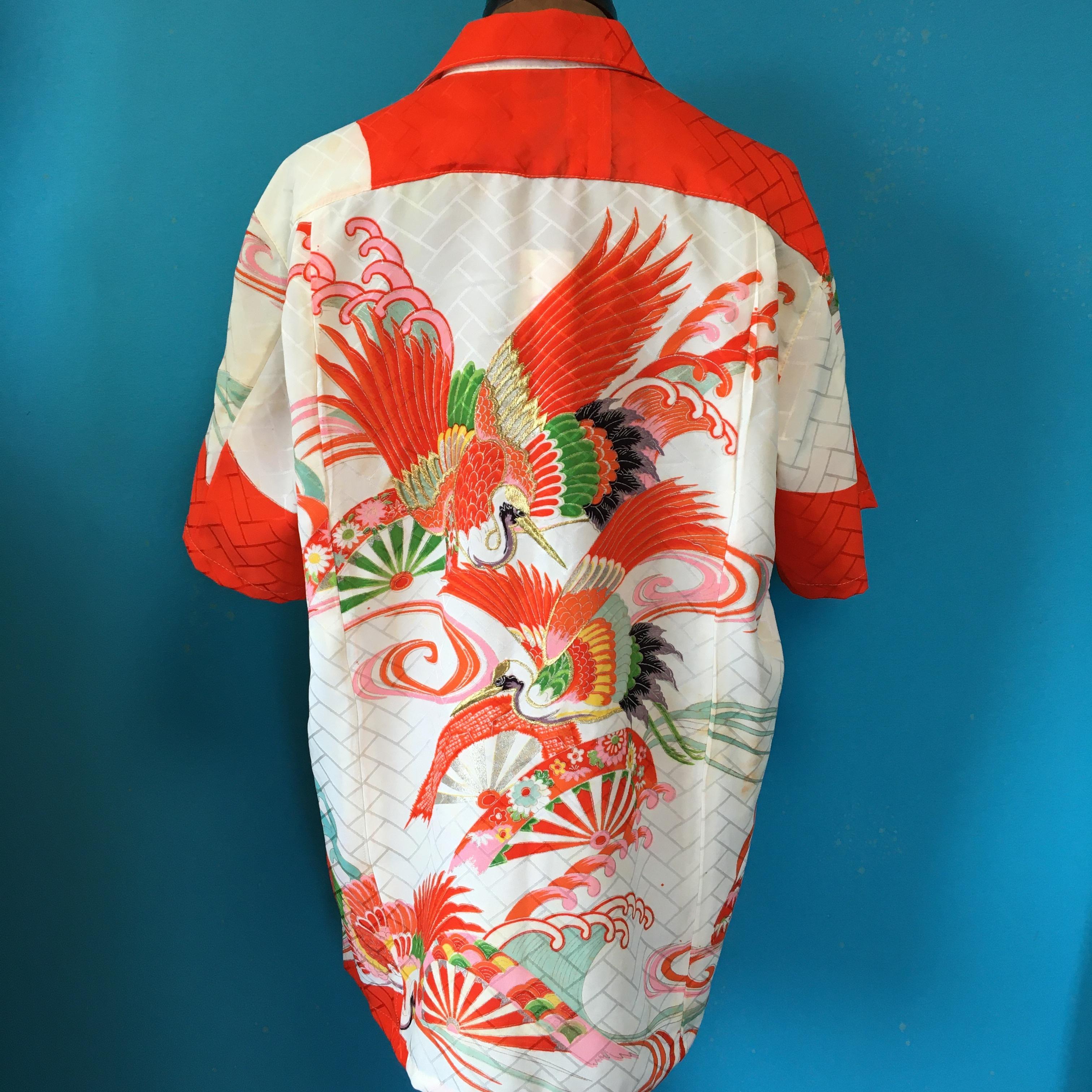 Vintageアロハ US L 刺繍鶴