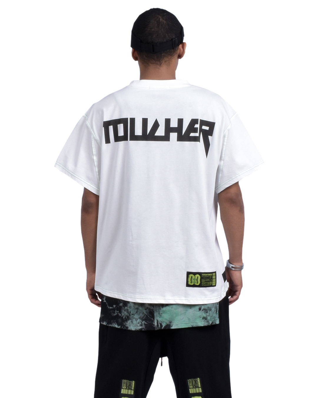 TOUCHER OVERSIZED  S/S TEE - WHITE/GREEN