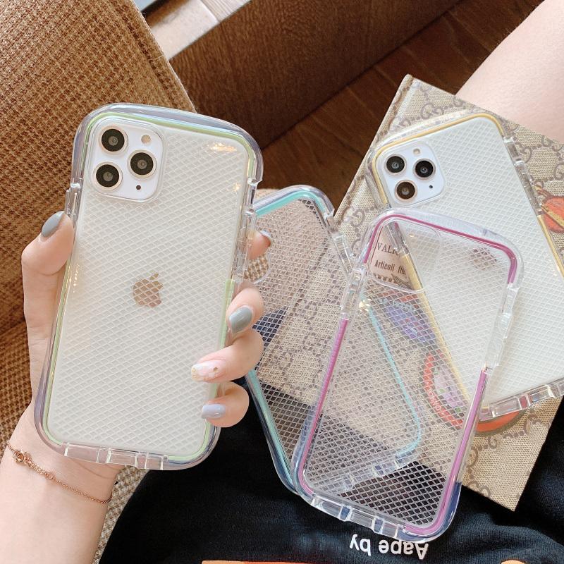 【お取り寄せ商品、送料無料】4カラー クリア メッシュ ソフト iPhoneケース iPhone11