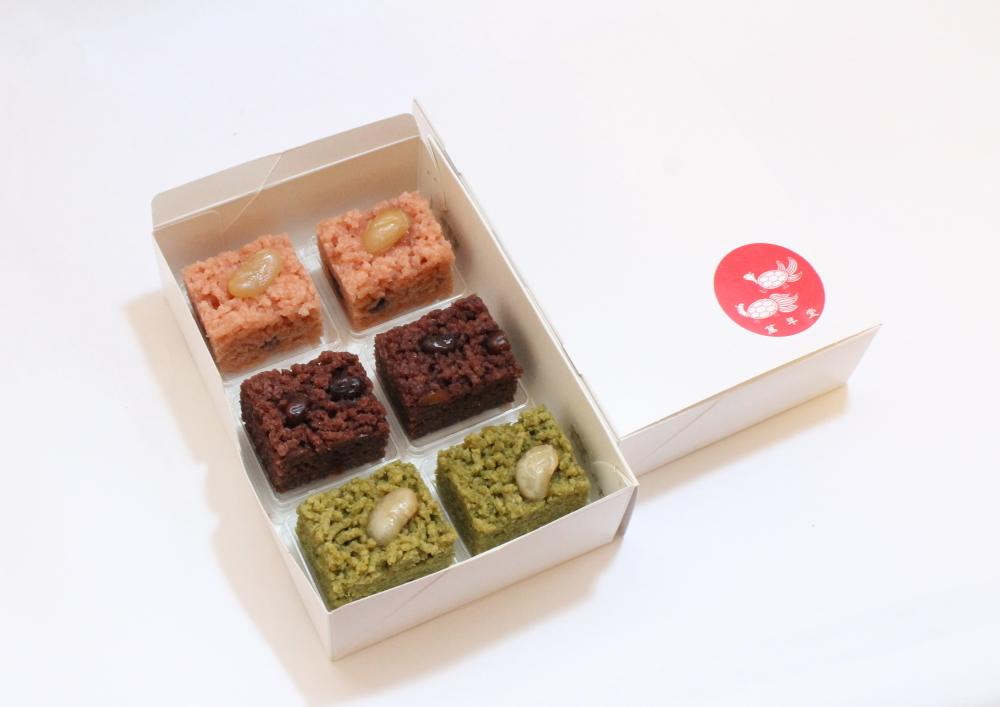 御目出糖・ありが糖う・茶の香糖 6個入(各2個づつ)簡易箱入り