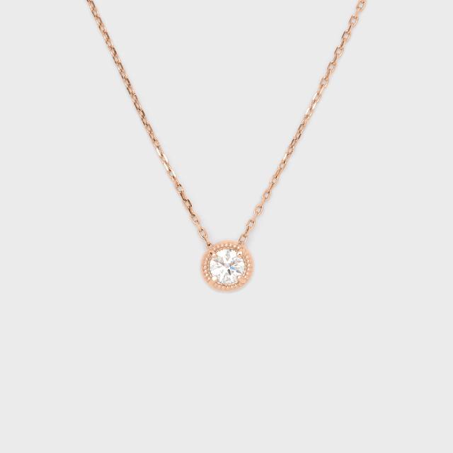 ENUOVE frutta Diamond Necklace K18PG(イノーヴェ フルッタ 0.2ct ミルグレイン ダイヤモンドネックレス K18ピンクゴールド スライドアジャスターチェーン)