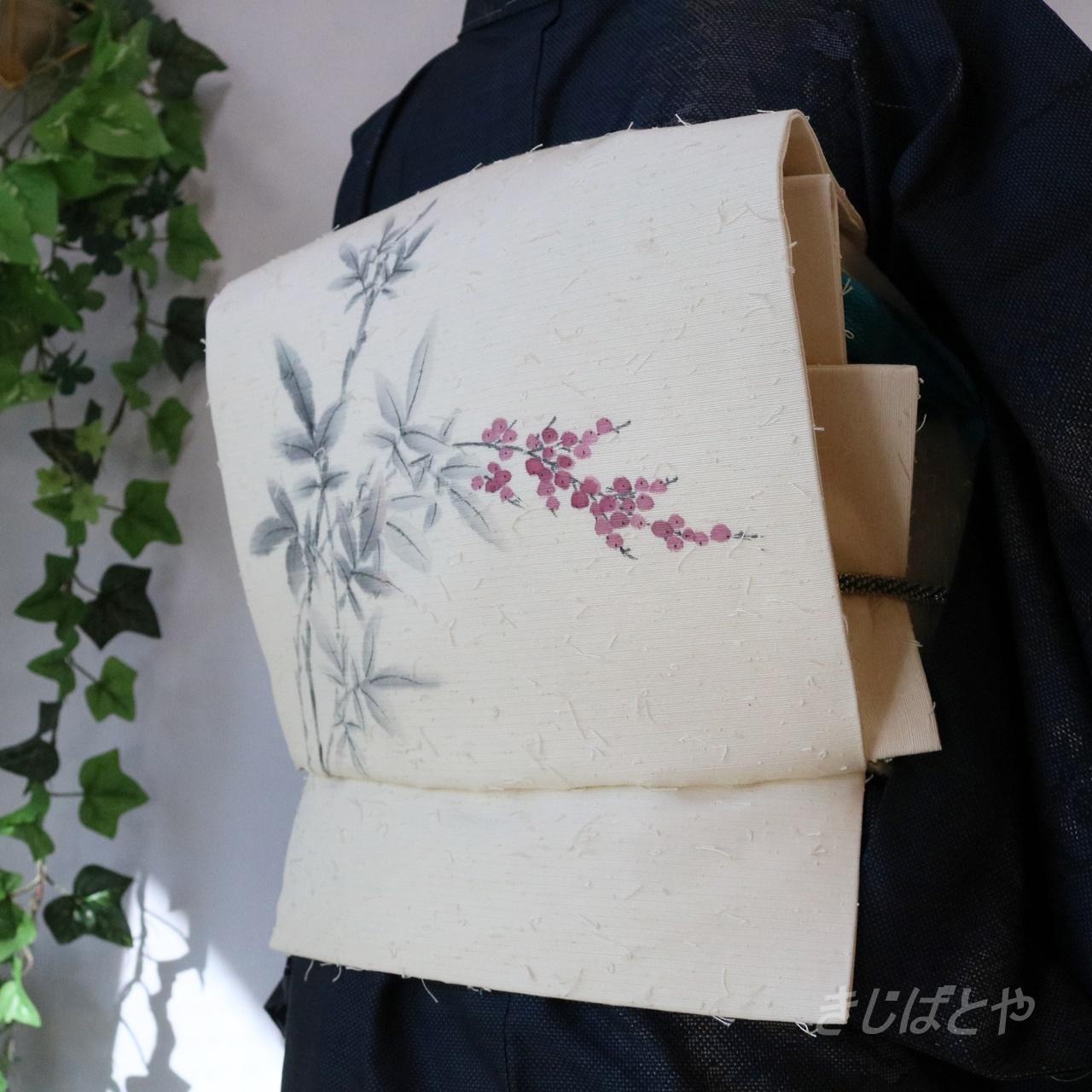 正絹ひげ紬 白地に赤い実のなごや 作家物