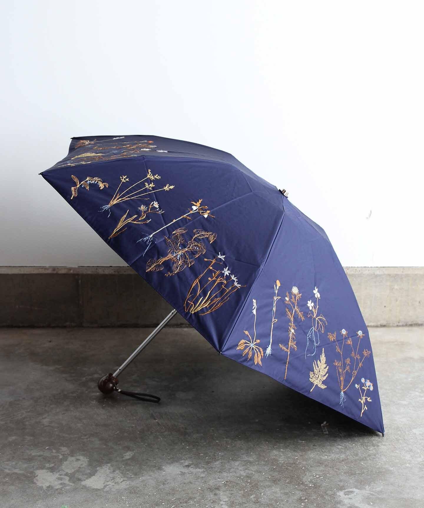 【ボタニカル刺繍】雨天兼用日傘(折りたたみ )ELS47-mini