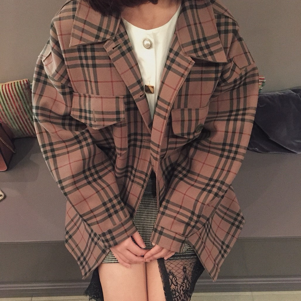 London check coat