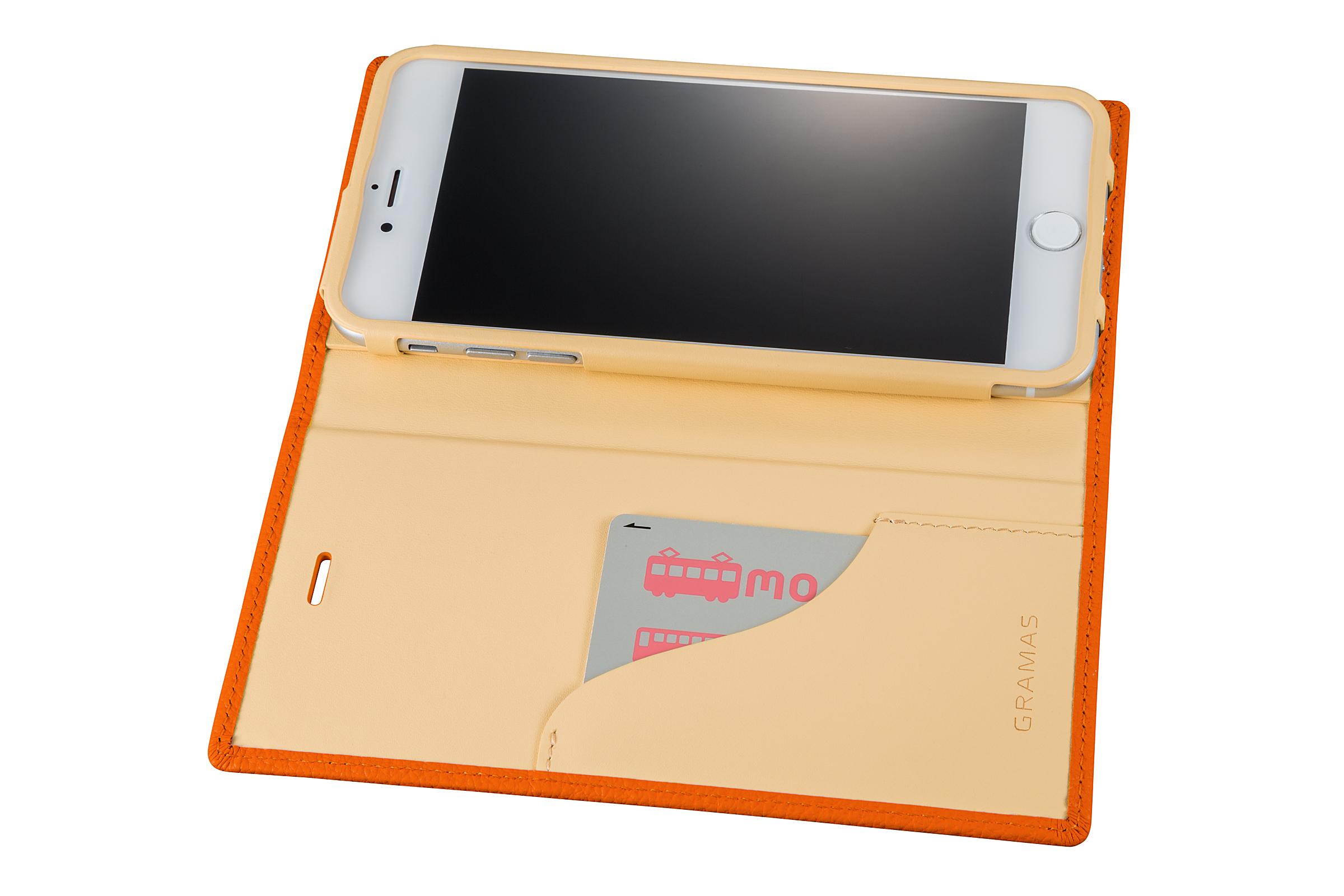 GRAMAS Shrunken-calf Full Leather Case for iPhone 7 Plus(Orange) シュランケンカーフ 手帳型フルレザーケース - 画像4