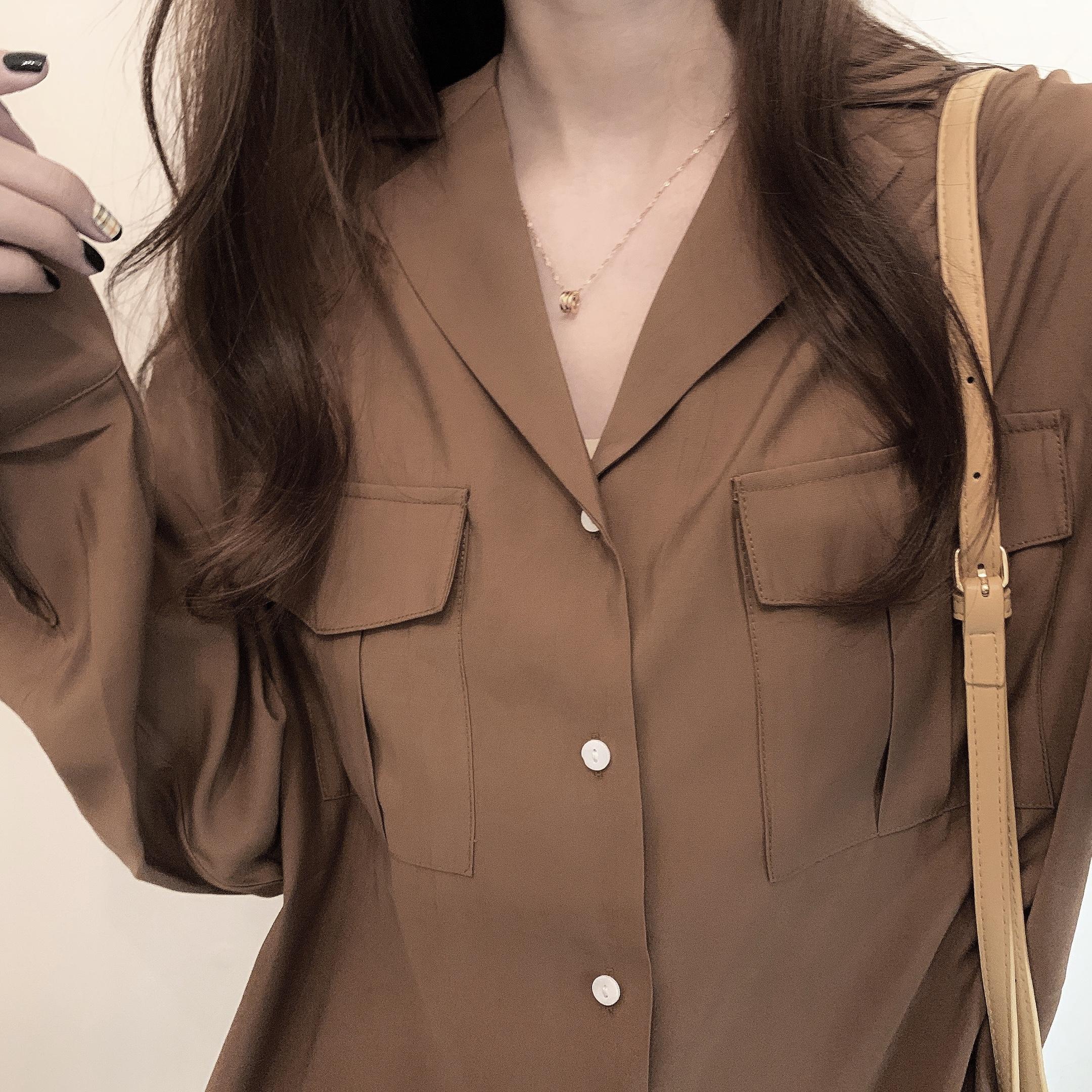 〈カフェシリーズ〉キャラメルココアルーズシャツ【caramel cocoa loose shirt】