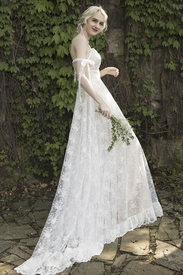 【DearWhite】ウェディングドレス Aライン プリンセス エンパイア デコルテ 結婚式 披露宴 二次会 パーティーウェディングドレス_サイズオーダー格安オーダーメイド DW0003