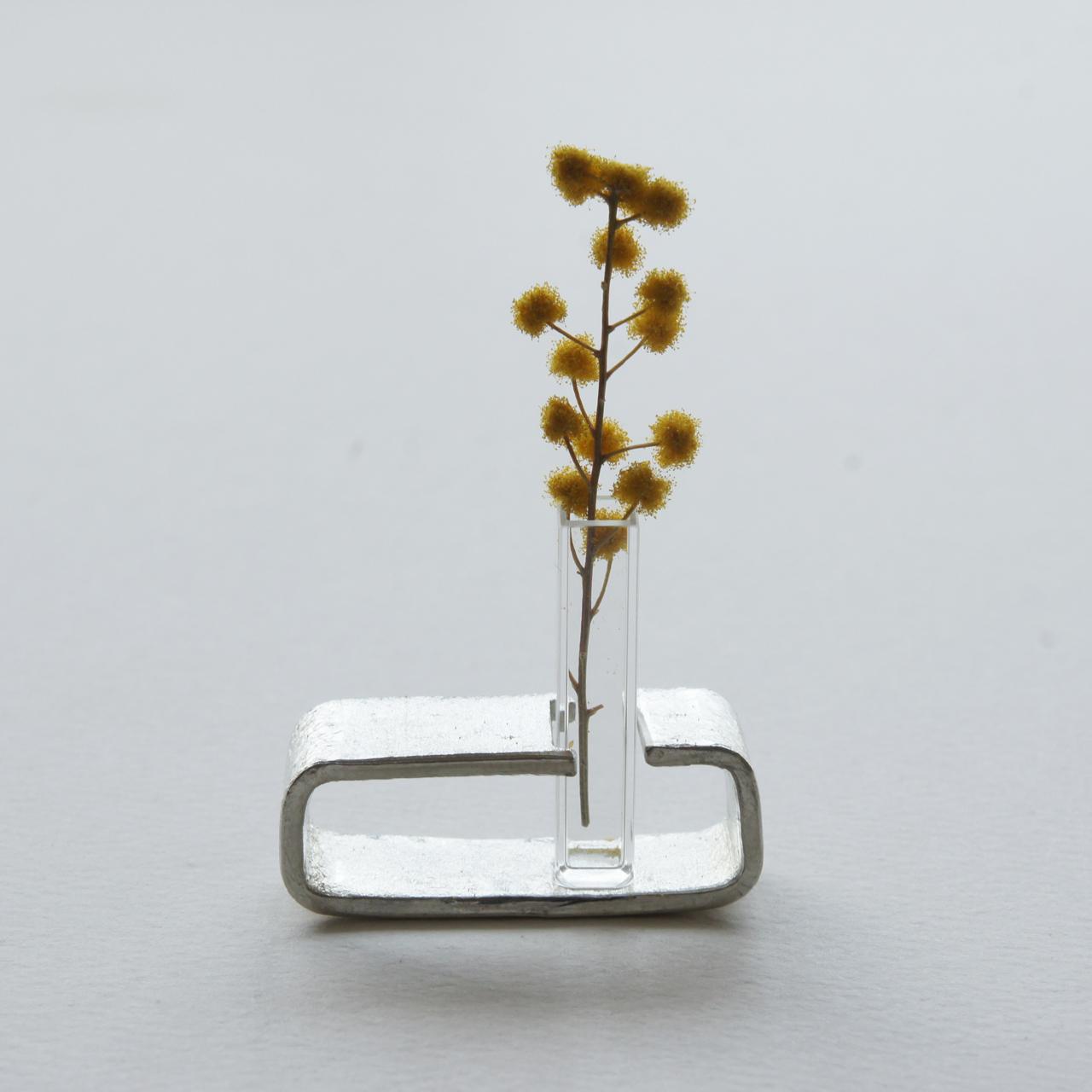小さなガラス管と錫のしかく花器tnv3【期間限定レターパックライト送料無料】