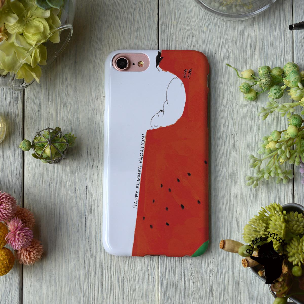 iphone8 ハードケース おしゃれ iphone8 ハードケース シンプル iphone7 ケース かわいい シロクマ しろくま 夏 スイカ 夏の真ん中で/Bitte Mitte!