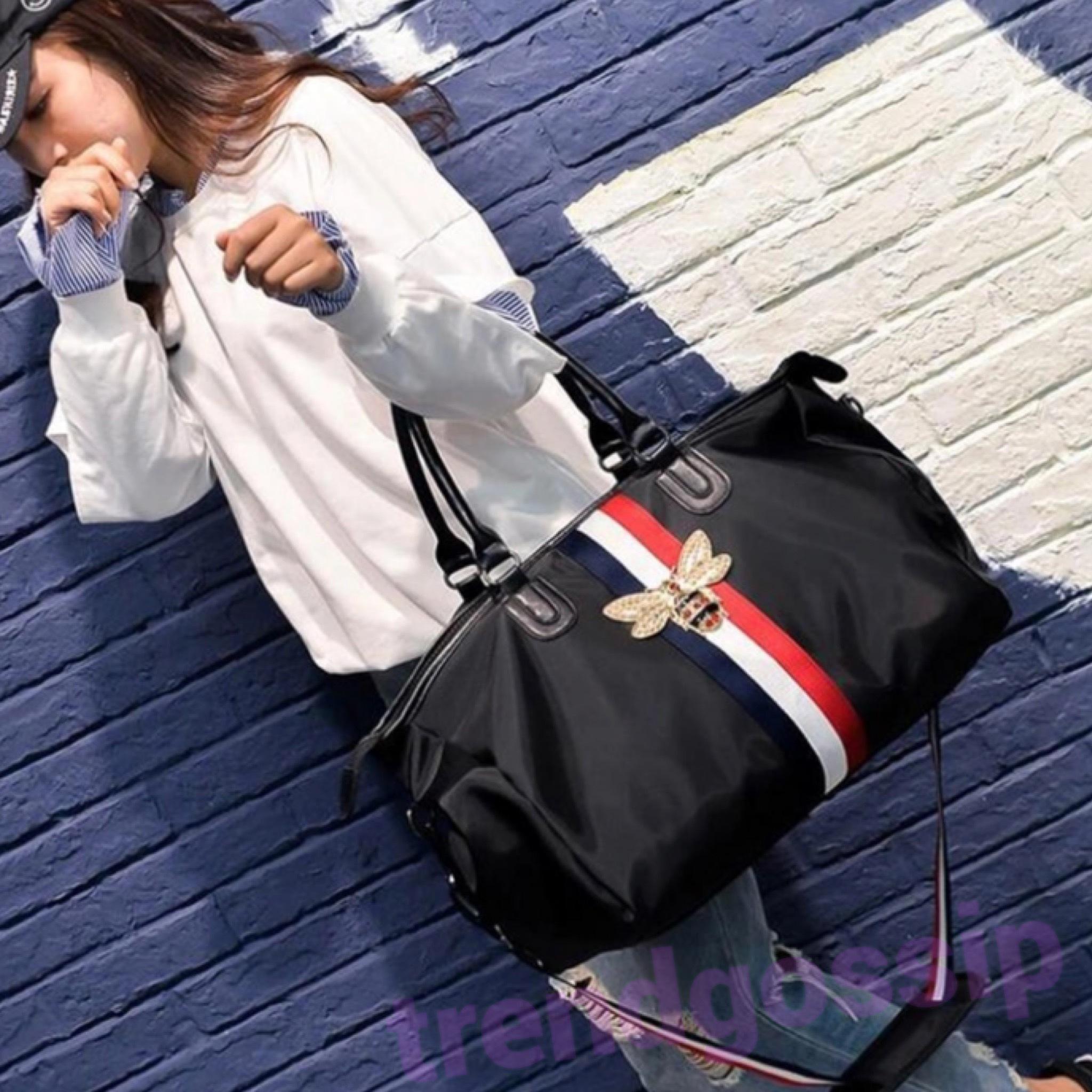 Beeバックルトリコロールナイロンボストンバッグ/旅行/鞄/ショルダーバッグ