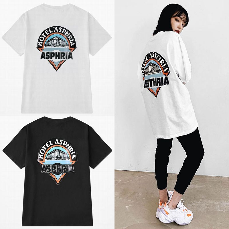 ユニセックス 半袖 Tシャツ メンズ レディース HOTEL ASPHRIA プリント オーバーサイズ 大きいサイズ ルーズ ストリート
