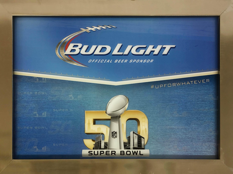 品番0224 パブミラー 『BUD LIGHT SUPER BOWL 50』 壁掛 アート ディスプレイ アメリカン雑貨 ヴィンテージ224