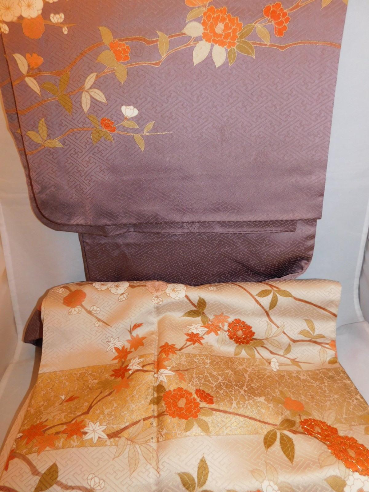 綸子訪問着 silk Kimono