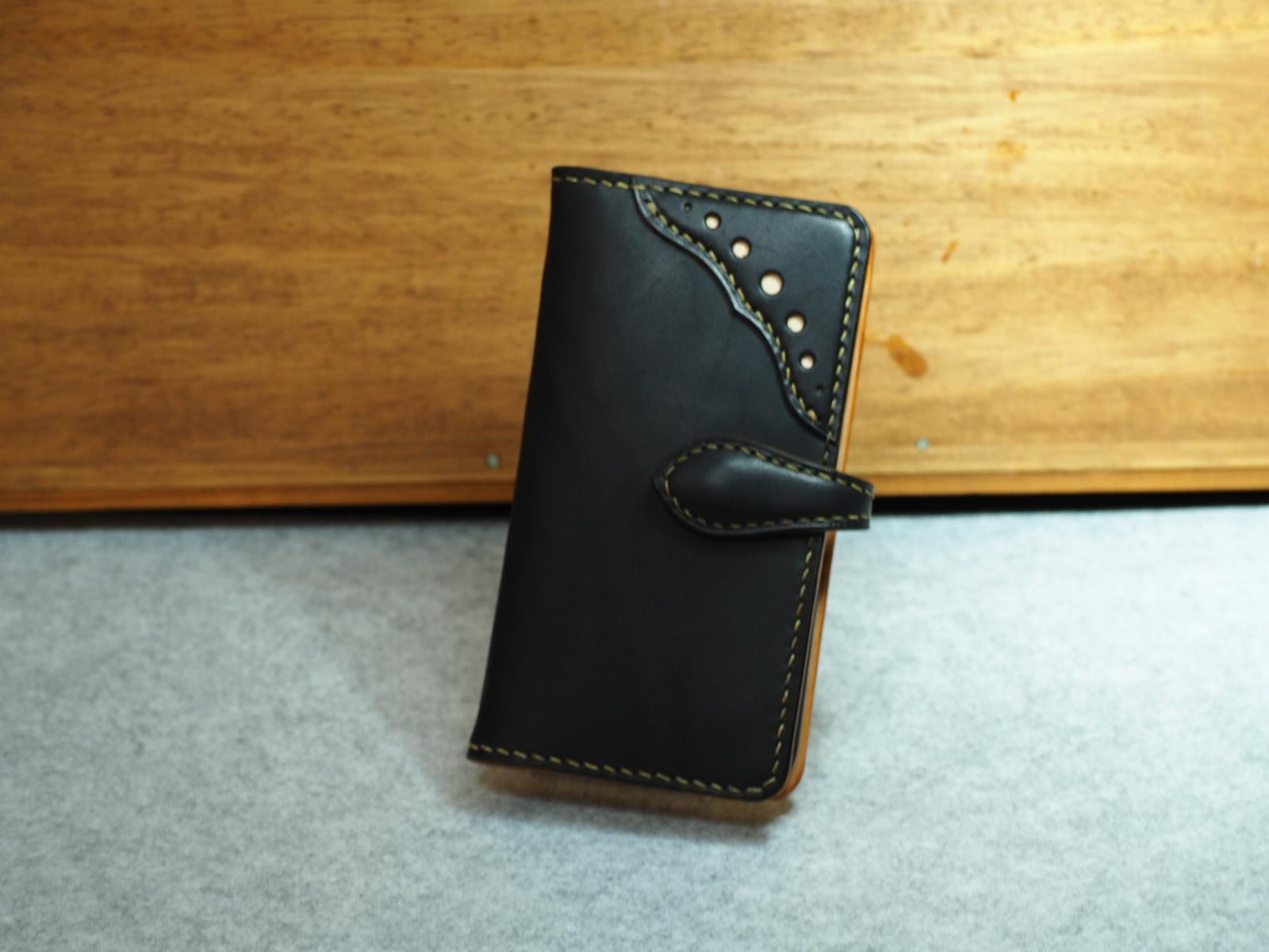 【長崎県E様オーダー】ウィングチップstyle手帳型スマートフォンケース≪専用ケース縫い付け≫