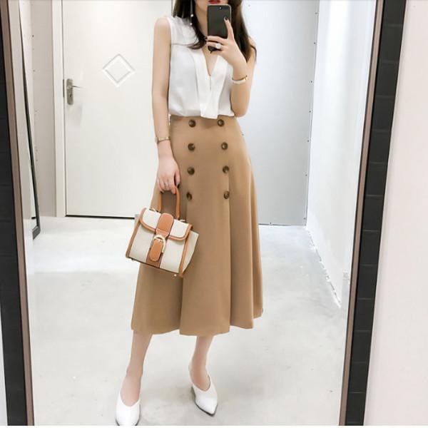 トレンチコート風 プリーツ スカート b142