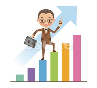 イラスト素材:棒グラフを登る中年のビジネスマン(ベクター・JPG)