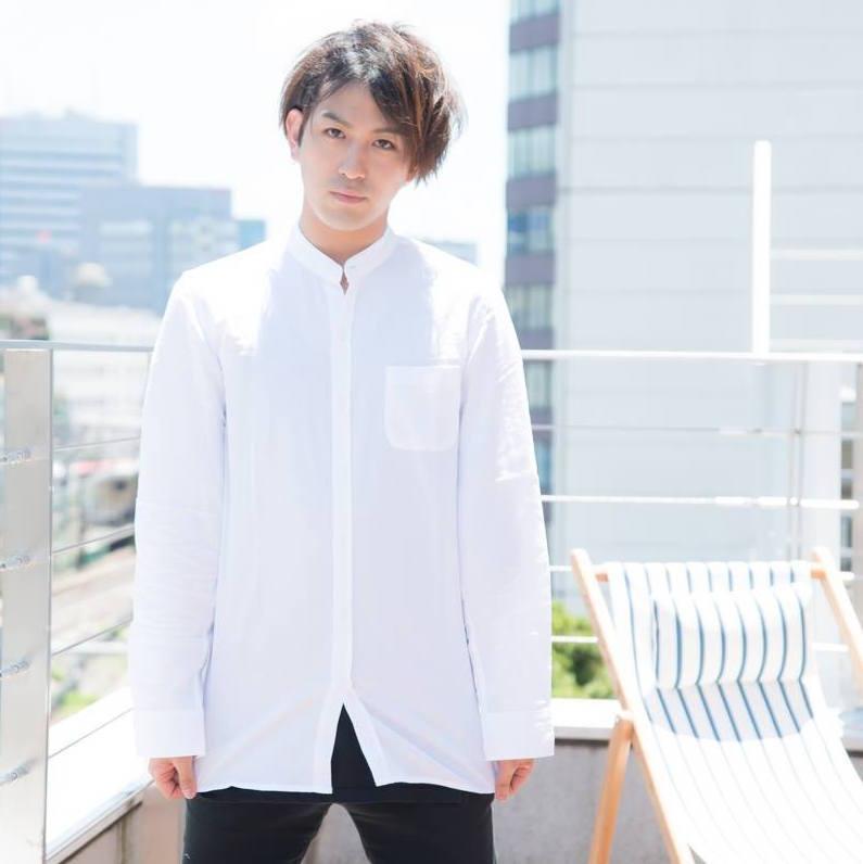 カジュアルメンズシャツ/パナマ綿麻/バンドカラー/ロング丈長袖シャツ/メンズ